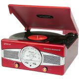 Groov-e Classic Vinyl Record Player with FM Radio & Built-in Speakers - Black GV-TT02-RD